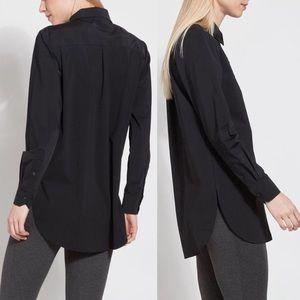 Lysse Schiffer Nylon Black button up shirt Medium